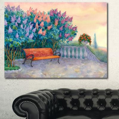 Designart Bench Under Flowering Lilac Landscape Canvas Art Print