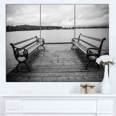 Designart Benches On Bridge By Water Side BridgeCanvas Art Print 3 Panels