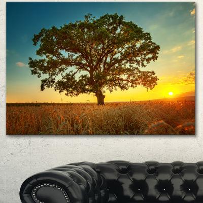 Designart Big Green Tree In Summer Field Trees Canvas Art Print  3 Panels