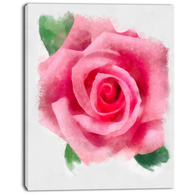 Designart Big Pink Rose Flower With Leaves LargeFloral Canvas Artwork