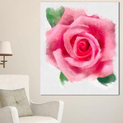 Design Art Big Pink Rose Flower With Leaves LargeFloral Canvas Artwork 3 Panels