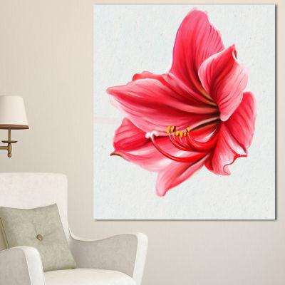 Designart Big Red Flower Sketch On White Large Floral Canvas Artwork