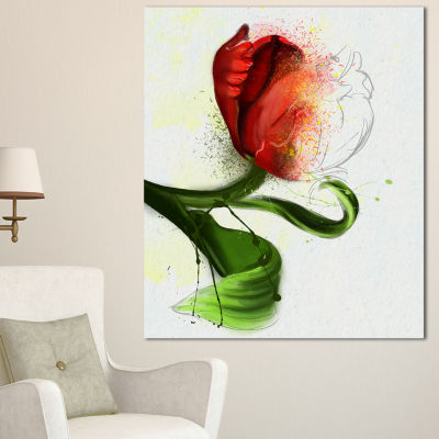 Designart Big Red Flower With Green Leaves FloralCanvas Art Print