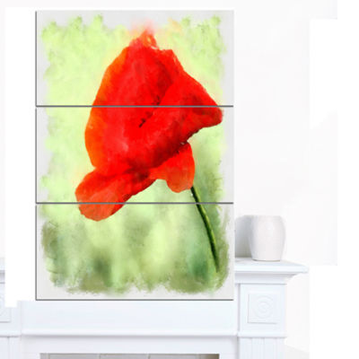 Designart Big Red Poppy Flower Watercolor FloralCanvas Art Print 3 Panels