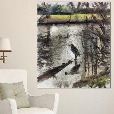 Designart Bird In National Park Watercolor Landscape Canvas Wall Art