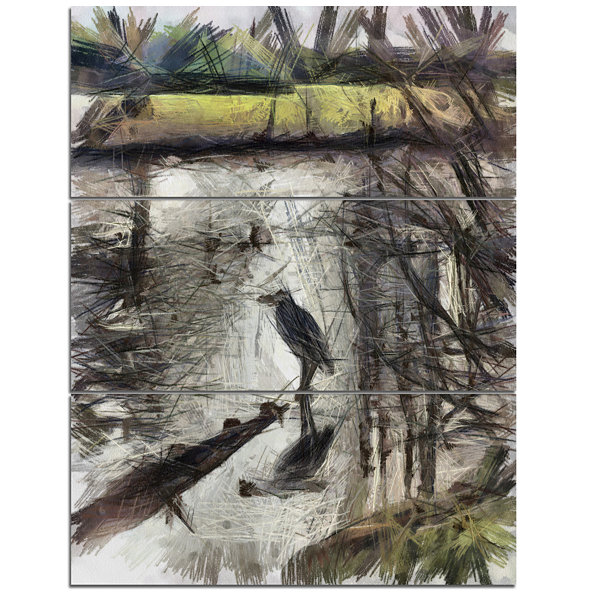 Designart Bird In National Park Watercolor Landscape Canvas Wall Art 3 Panels