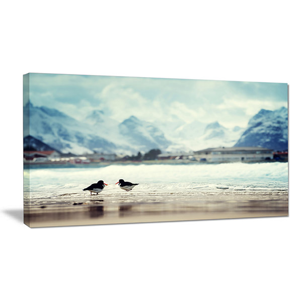 Design Art Birds And Mountain Peak Oversized Seashore Wall Art On Canvas