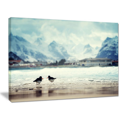 Designart Birds And Mountain Peak Seashore Wall Art On Canvas