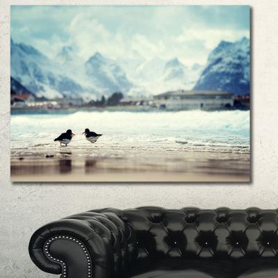 Design Art Birds And Mountain Peak Seashore Wall Art On Canvas 3 Panels