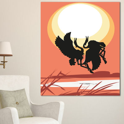 Design Art Birds At Sunset Vector Drawing Large Abstract Canvas Wall Art