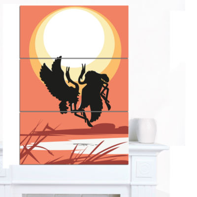 Design Art Birds At Sunset Vector Drawing Large Abstract Canvas Wall Art 3 Panels
