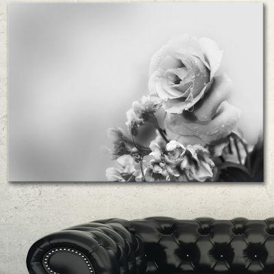 Designart Black And White Rose In Spring. Floral Canvas Art Print