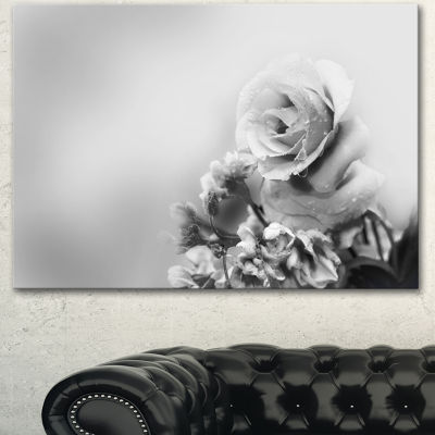 Designart Black And White Rose In Spring. FloralCanvas Art Print 3 Panels