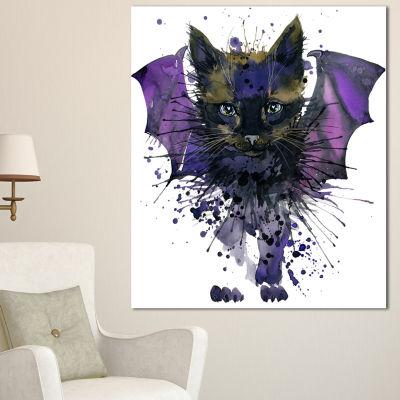 Designart Black Cat With Blue Wings Animal CanvasWall Art