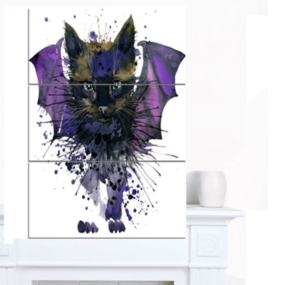 Designart Black Cat With Blue Wings Animal CanvasWall Art 3 Panels