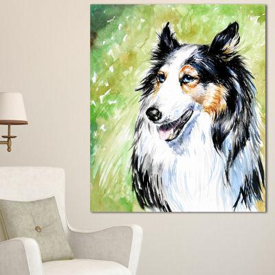 Designart Black Collie Dog Watercolor Animal Canvas Art Print 3 Panels