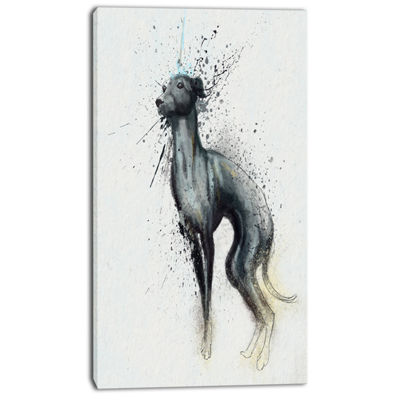 Designart Black Dog Watercolor With Splashes LargeAnimal Canvas Artwork