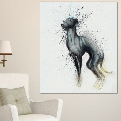 Designart Black Dog Watercolor With Splashes LargeAnimal Canvas Artwork 3 Panels