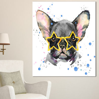 Designart Black French Bulldog With Stars AnimalCanvas Wall Art