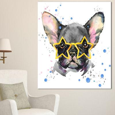 Designart Black French Bulldog With Stars AnimalCanvas Wall Art 3 Panels