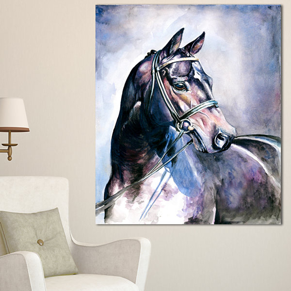Designart Black Horse With Bridle Abstract CanvasArt Print 3 Panels