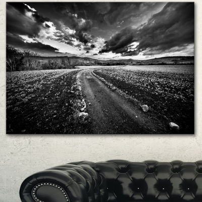 Designart Black White Landscape From Sardinia Landscape Canvas Art Print