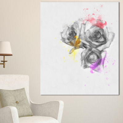 Designart Black White Watercolor Rose Sketch Floral Canvas Art Print