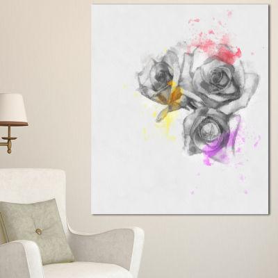 Designart Black White Watercolor Rose Sketch Floral Canvas Art Print 3 Panels