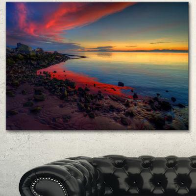 Designart Blasts Of Color At The Sunset SeashoreCanvas Art Print