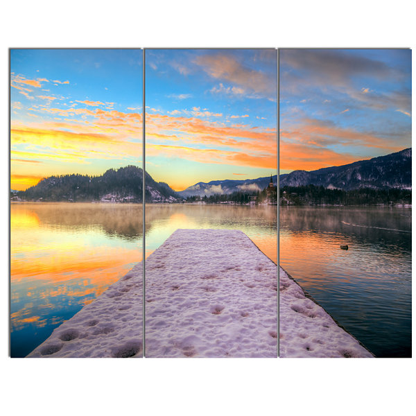 Designart Bled With Lake In Winter Slovenia BridgeCanvas Art Print 3 Panels