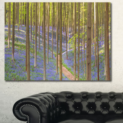 Designart Blooming Bluebell Forest Panorama Landscape Canvas Art Print