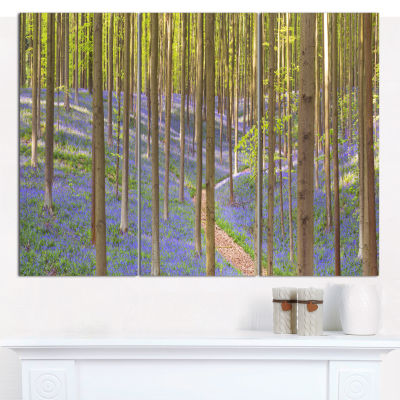 Designart Blooming Bluebell Forest Panorama Landscape Canvas Art Print  3 Panels