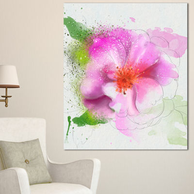 Designart Blooming Pink Flower Watercolor FlowersCanvas Wall Artwork 3 Panels