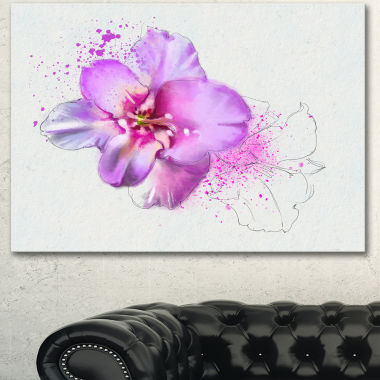 Designart Blooming Pink Fowler Watercolor Floral Canvas Art Print