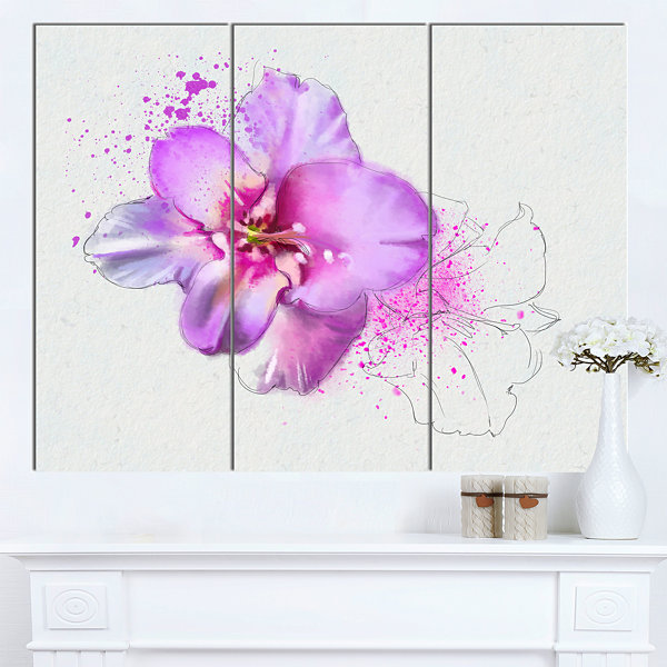 Designart Blooming Pink Fowler Watercolor FloralCanvas Art Print 3 Panels