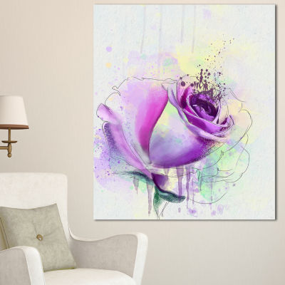 Designart Blooming Purple Watercolor Rose FloralCanvas Art Print