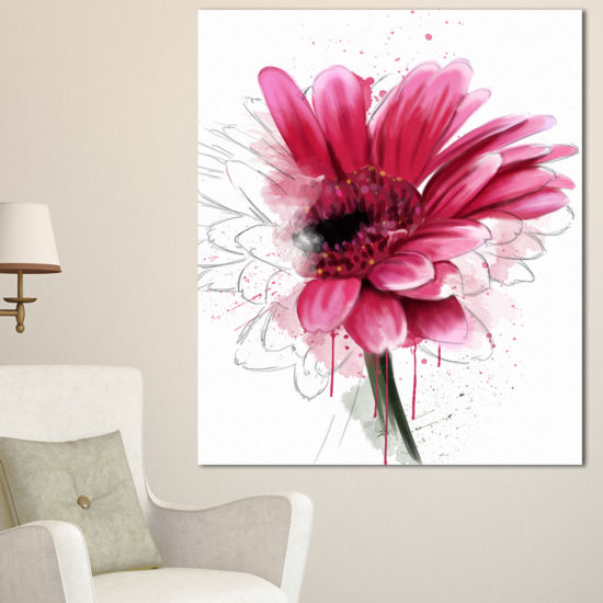 Designart Blooming Red Flower Watercolor Floral Canvas Art Print