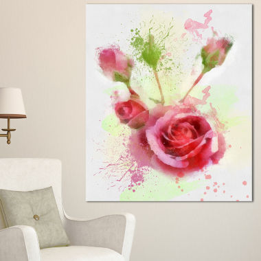 Designart Bloomy And Budding Red Roses Floral Canvas Art Print