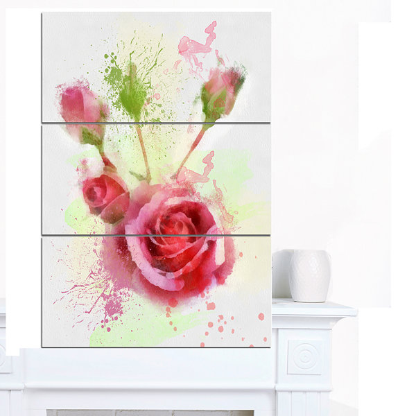 Designart Bloomy And Budding Red Roses Floral Canvas Art Print 3 Panels