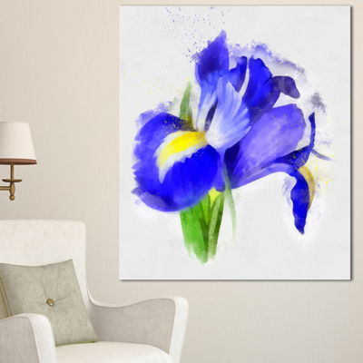 Designart Bloomy Blue Watercolor Rose Floral Canvas Art Print