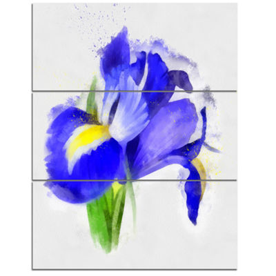 Designart Bloomy Blue Watercolor Rose Floral Canvas Art Print 3 Panels
