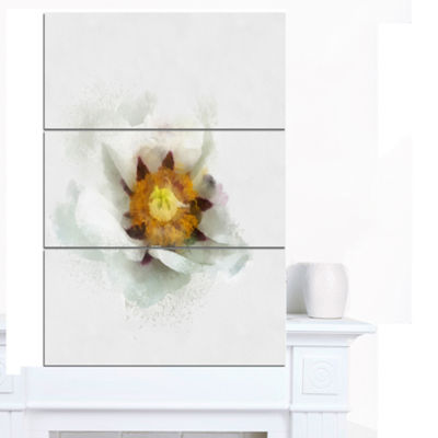 Designart Bloomy Poppy Flower Watercolor Floral Canvas Art Print 3 Panels