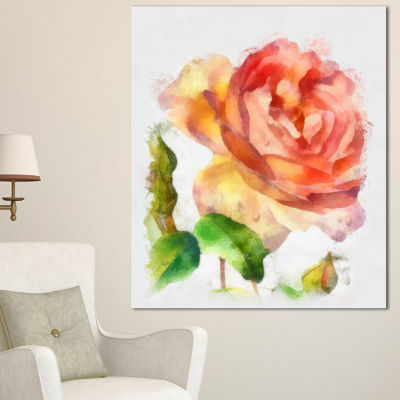 Designart Bloomy Red Rose Watercolor Drawing Floral Canvas Art Print