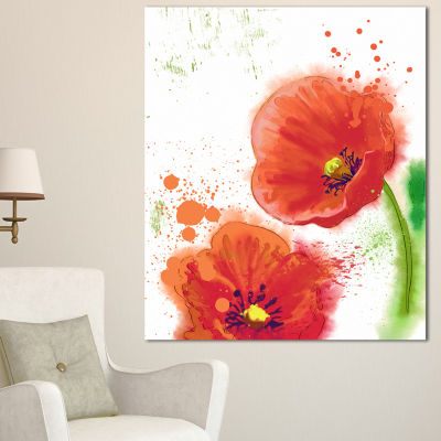 Design Art Bloomy Red Tulips Watercolor Flowers Canvas Wall Artwork 3 Panels