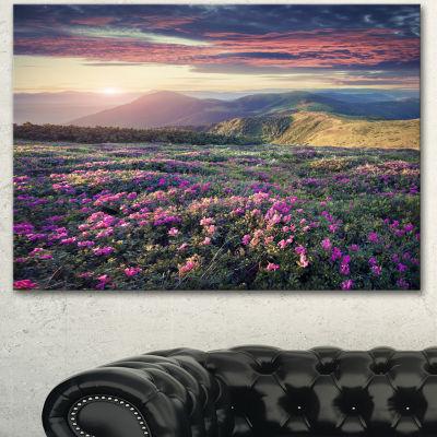Designart Blossom Carpet Of Pink Rhododendron Large Landscape Canvas Art Print 3 Panels