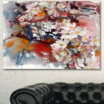 Designart Blossoming Apple Tree Background FloralArt Canvas Print 3 Panels