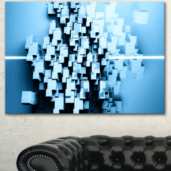 Designart Blue 3D Cubes Fractal Design Abstract Canvas Wall Art Print