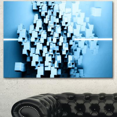 Designart Blue 3D Cubes Fractal Design Abstract Canvas Wall Art Print 3 Panels
