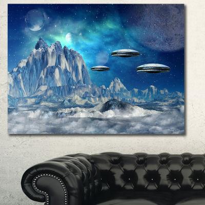 Designart Blue Alien Planet Landscape Canvas ArtPrint 3 Panels