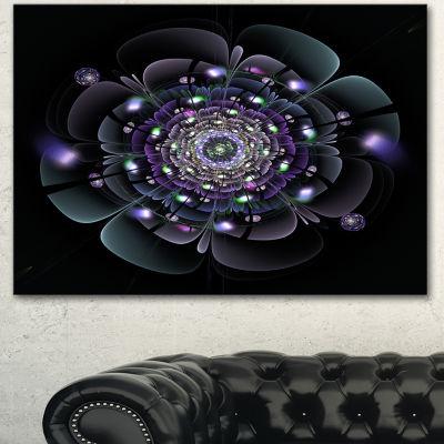 Designart Blue And Black Fractal Flower Floral Canvas Art Print